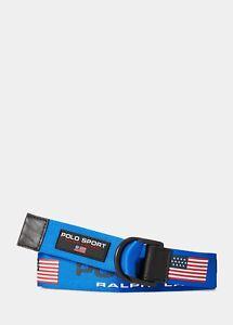 """Polo Sport Ralph Lauren Mens Webbed Utility D-Ring Belt   Blue USA   Medium 34"""""""
