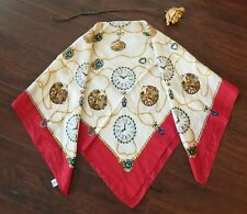Vtg Silk Scarf Antique Clocks Watches Chains Beige Gold Red 31x31 made in Japan