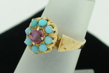 "Antique (ca. 1900) 18K Yellow Gold Ruby and Turquoise Ring (Size ""4"")"