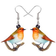Acrylic Resting Robin Bird Earrings Drop Dangle Jewelry For Women Kid Gift Charm