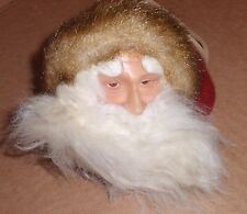 VINTAGE SANTA HEAD ORNAMENT WITH JINGLE BELL CHRISTMAS