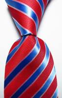 New Classic Striped Red Blue White JACQUARD WOVEN 100% Silk Men's Tie Necktie