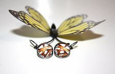 Butterfly Wing Earrings Orange Glass Cabochon Silver Setting Goth Gothic Unusual