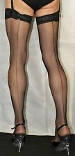 5 Pairs Large Black Seamed LaceTop Fine Fishnet Stockings Suspender Friendly