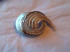 Vintage LEDO Signed Silver Tone Swirl Brooch Textured
