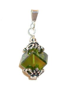 8mm Cube Pendant OLIVINE GREEN Crystal SWAROVSKI Elements Bali Sterling Silver