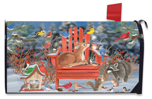 Snow Day Gathering Winter Magnetic Mailbox Cover Fawn Standard Briarwood Lane