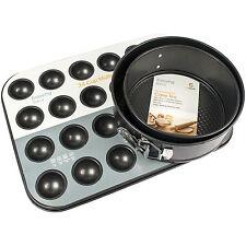 3 PEZZI ANTIADERENTI FORNO COTTURA springform teglie 24 Cup Muffin Vassoio per dolci Set
