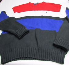Vintage Polo Ralph Lauren L Ribbed Knit Sweater Shirt Color Block PONY Large