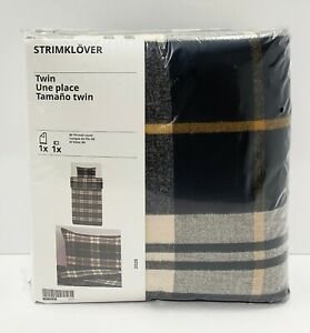 Ikea STRIMKLOVER Twin Duvet Cover Set Flannel Plaid Black/Brown Check NEW