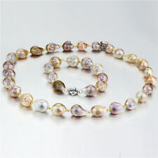 Edison Pearl Necklace + Bracelet Set Genuine Freshwater Pearl Solid Silver Clasp