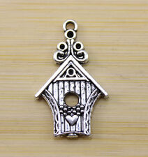 15 pcs Retro Very cute Tibet silver bird house charm pendant 30x19 mm