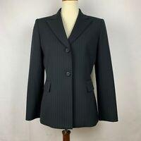 Tahari Womens Size 6 Black Pinstripe Button Front Blazer Career Jacket