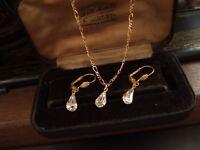 Vintage Teardrop Crystal Pendant Necklace & Earrings Set Gold Plated. 10 x 6mm