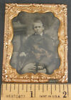 """SIGNED 1860s framed tintype Boy Child seated in Victorian chair 9th plate 2½""""x2"""""""