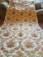 Antique Vtg Victorian 1890's French Linen Silk Jacobean Curtain Panel Floral