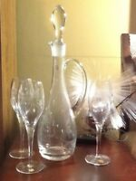 Toscany Romania Cut Flowers Decanter & 3 Goblets Footed Stems