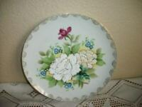ANTIQUE CORALINE GLASS BEAD PORCELAIN PLATE HP FLORALS ORNATE GOLD EDGE