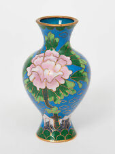 Vintage Chinese Miniature Cloisonne Vase with Pink Flower & Blue Enamel Ground