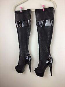 Ellie Shoes 6 Inch Stiletto Heel Thigh High Platform Mesh Zipper Boots