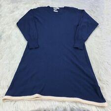 Vintage Sonia Rykiel Women's M / L Navy Ivory Wool Blend Midi Sweater Dress