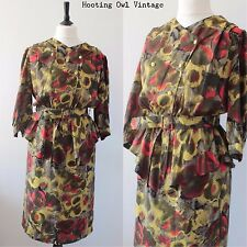VINTAGE 1980S PEPLUM FLORAL YELLOW RED PARTY DALLAS POWER DRESSING TEA DRESS 14
