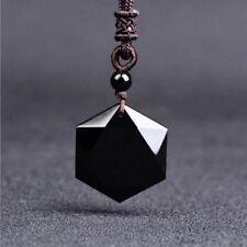 Obsidian David Star/Hexagram Pendant Necklace/Velvet Pouch-Hand Carved/FREE P&P