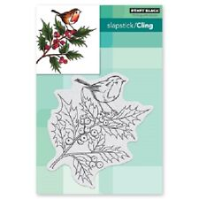 PENNY BLACK RUBBER STAMPS SLAPSTICK CLING CHEERFUL CHRISTMAS  NEW cling STAMP