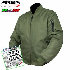 ARMR MOTO ARAMID MOTORCYCLE BOMBER JACKET WATERPROOF CRUISER(NEW 2017) OLIVE L
