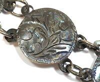 RICH PATINA! Vintage Ladies SIAM Sterling Silver Ornate Design Bracelet
