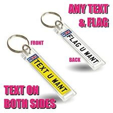 Personalised Car Reg Number Plate Keyring Fob Any Text Flag Double Sided