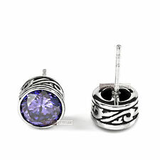 silver earrings stainless steel crystal vintage style stud 1.25ct