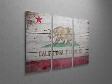 "Republic of California Vintage Flag Canvas Triptych Print 48""x30"""