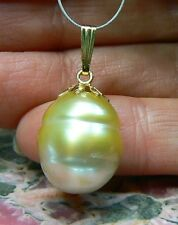 RARE HUGE GOLDEN CREAM 13.5 x 17mm BAROQUE SOUTH SEA PEARL 14K GOLD PENDANT