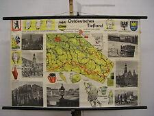 Schulwandkarte Wandkarte Sachsen Schlesien Brandenburg 99x66 Heimatkarte ~1960