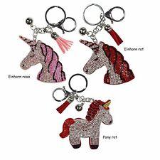 Schlüsselanhänger Einhorn o. Pony mit Glitzersteinchen Quaste u. 2 Befestigungen