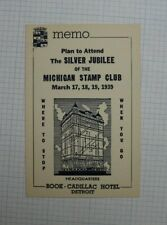 1939 Silver Jubilee Michigan Stamp Club Detroit Memo Event Souvenir Label Ad