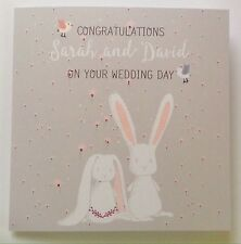 PERSONALISED Wedding Congratulations Card With Cute Bunny Rabbits