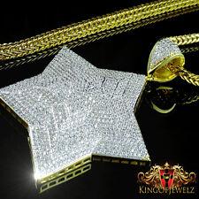 14K YELLOW GOLD FINISH STAR LAB DIAMOND 3D  CHARM PENDANT + FRANCO CHAIN 4MM