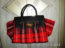 Red Tartan Carpet Fabric large Winged Handbag UK