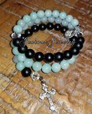 Stainless Steel Healing Mixed Gemstone 8mm bead Rosary Wrap Cross Bracelet