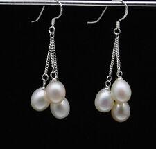 Natural White Akoya Pearl Dangle Chain Earrings AAA Silver Hook