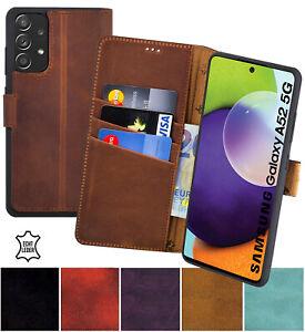 Hülle für Samsung Galaxy A52 5G Tasche Book Echt Leder Schutz Cover Wallet Case