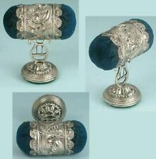 Antique Sterling Silver Double Ended Pin Cushion / Emery * English * Circa 1850