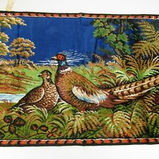 "Vintage Pheasant Tapestry 19x37"" Wall Hanging Rug Man Cave Made in Italy"