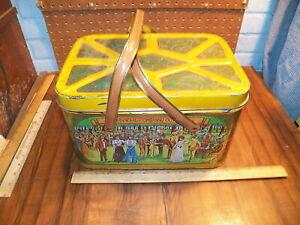 "Vintage CHEINCO Tin Metal Picnic Basket ""ANNUAL COMPANY OUTING""                !"