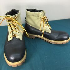 Used Timberland Tan Canvas & Black Leather Mens Outdoor Industrial Boots sz 11 M