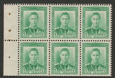 New Zealand 1938-44 George VI ½d Green booklet pane SG 603 Mnh.