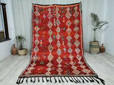 "Moroccan Handmade Vintage Boujaad Rug 5'7""x9'3'' Berber Argyle Red Shades Rug"