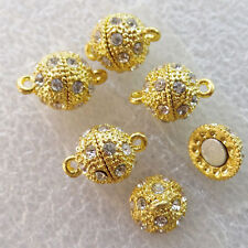 10 Sets 15x10mm Gold Plated Rhinestone Necklace Magnetic Clasp For Jewelry W8347